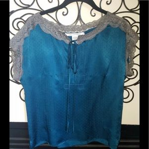 Diane Von Furstenberg Teal W/  Lace  Silk Blouse 4